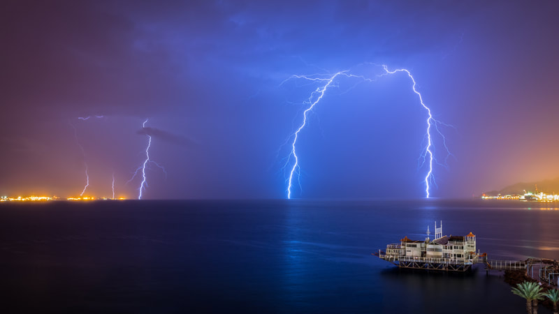 Lighting Storm over the Red Sea - Israel